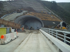 Entrance to Tunnel – The State of California decided to build 2 tunnels; 1 for northbound traffic, and 1 for southbound traffic.