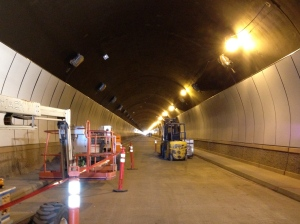 Each tunnel is approx. 4,200 feet long (about 4/5ths of a mile).  It is a much more challenging application for using the MT6 compared to a concrete and steel building or slab because of the massive amount of rebar. I told Zircon's engineers that instead of a concrete wall with steel reinforcement, Devil's Slide Tunnel is more like a steel wall with concrete filler.