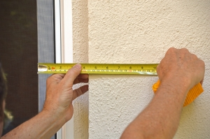 Work around Solution. Step 1. Next go outside and measure the distance from the edge of the glass to the studs behind the stucco exterior wall.  Although somewhat time consuming, many pro users have reported success with this method.  The key is being very careful with the measurements.